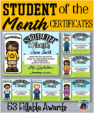 Student of the Month Fillable Certificates Pack