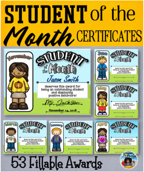 Student of the Month Editable Certificates Pack