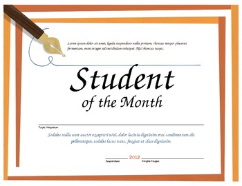 Student of the Month Microsoft Word Certificate Template by Miss