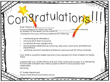 Student of the Month Parent Award Letter