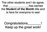 Student of the Month Poem