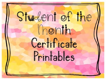 student of the month printable certificate the crystal by