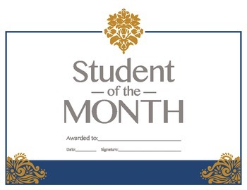 Student of the Month Reward Certificate