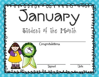 Student of the Month Ribbon Awards (Editable)