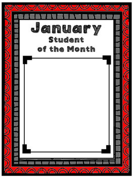 Student of the Month ~Wall Display ~ All RED