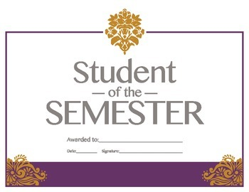 Student of the Semester Reward Certificate