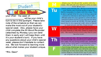 Student of the Week Activities/Parent Note