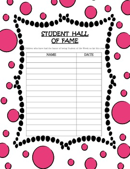 Student of the Week Activity