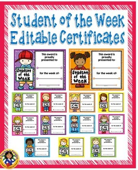 Student of the Week Awards Pack {Editable}