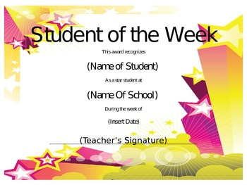 Student of the Week Certificate