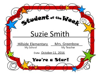 Student of the Week Certificate with Matching Bulletin Board Sign