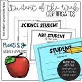 Student of the Week Certificates