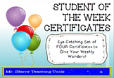 Student of the Week Certificates – Pack of 4