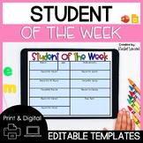 Student of the Week Editable Digital & Print