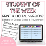 Student of the Week Editable Digital & Print