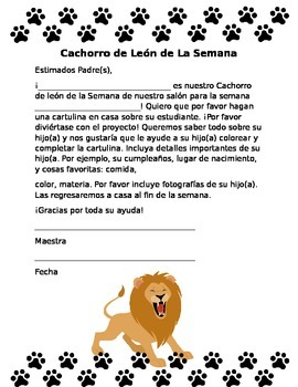Student of the Week Letter in Spanish