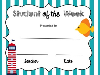 Student of the Week (Nautical Theme)
