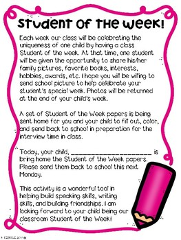 Student of the Week Newsletter- BRIGHTS