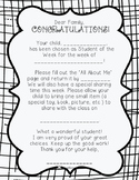 Student of the Week Note Home