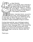 Student of the Week Note to Parents