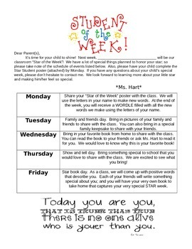 Student of the Week Parent Letter