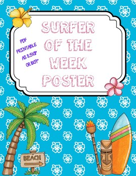 Student of the Week Poster - Surf/Beach Theme - Surfer of the Week