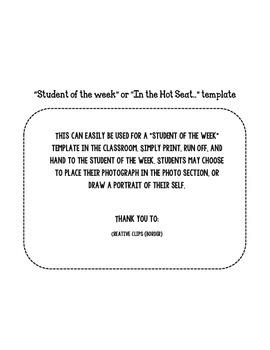 Student of the Week Printable