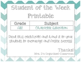 Student of the Week Printable