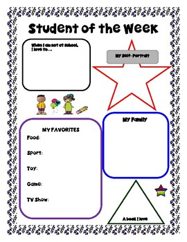 Student of the Week- Profile Sheet