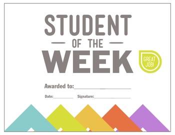 Student of the Week Reward Certificate