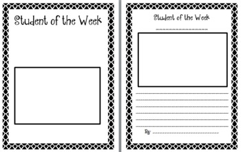 Student of the Week - Title and Sheet