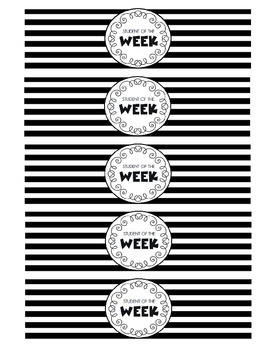"""""""Student of the Week"""" Water Bottle Labels (black and white)"""