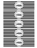 """Student of the Week"" Water Bottle Labels (black and white)"
