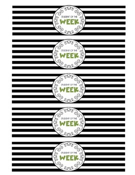 """Student of the Week"" Water Bottle Labels (green)"