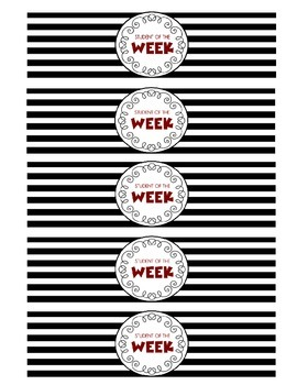 """""""Student of the Week"""" Water Bottle Labels (red)"""