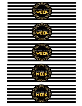"""Student of the Week"" Water Bottle Labels (yellow)"