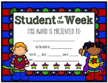 Student of the Week and Terrific Kid Award