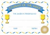 Student of the Week class weekly award certificate