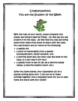 """""""Student of the Week"""" or """"Star Student"""" Instruction Sheet"""