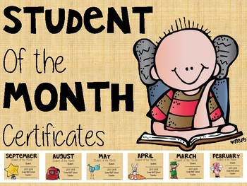 Student of the month certificates 2019-2020