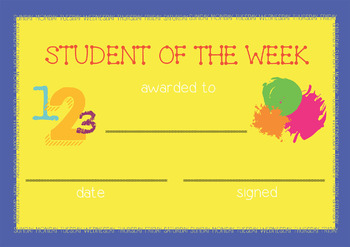 Student of the week award certificate