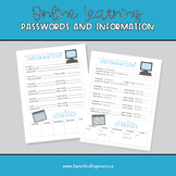 Student password class codes tracking sheet