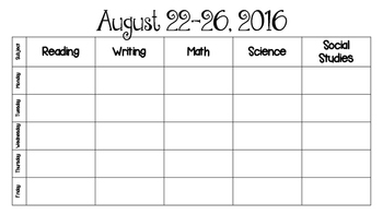 Student planner August 2016- May 2017