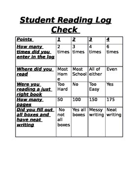 Student reading log check