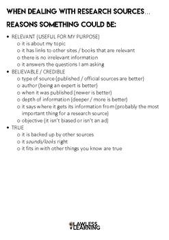 Student research checklist: Relevant - Believable - True
