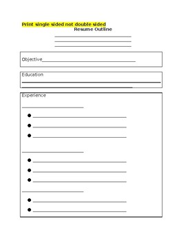 Student Resume Graphic Organizer By Ms Romanos Treasures Tpt