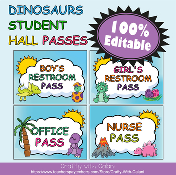 Student's Hall Pass in Cute Dinosaurs Theme - 100% Editable