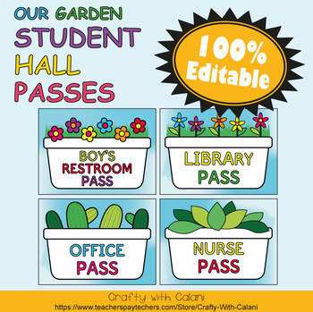 Student's Hall Pass in Flower & Bugs Theme - 100% Editable