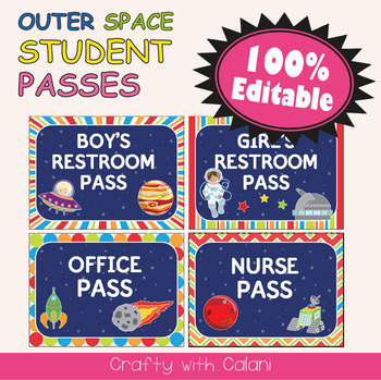 Student's Hall Pass in Outer Space Theme - 100% Editable