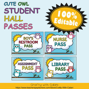 Student's Hall Pass in Owl Theme - 100% Editable